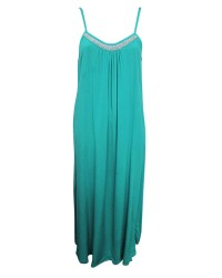 Beaded Neck Plain Maxi Dress