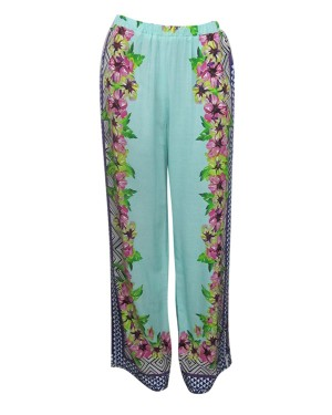 Tropical Border Pull On Pants