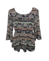 Folk Print 3/4 Sleeve Top
